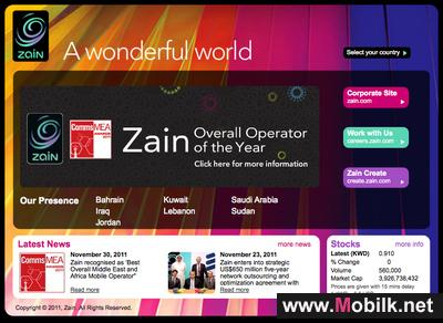 Zain Group corporate website (www.zain.com) ranks no.1 in the telecom industry across the MENA region
