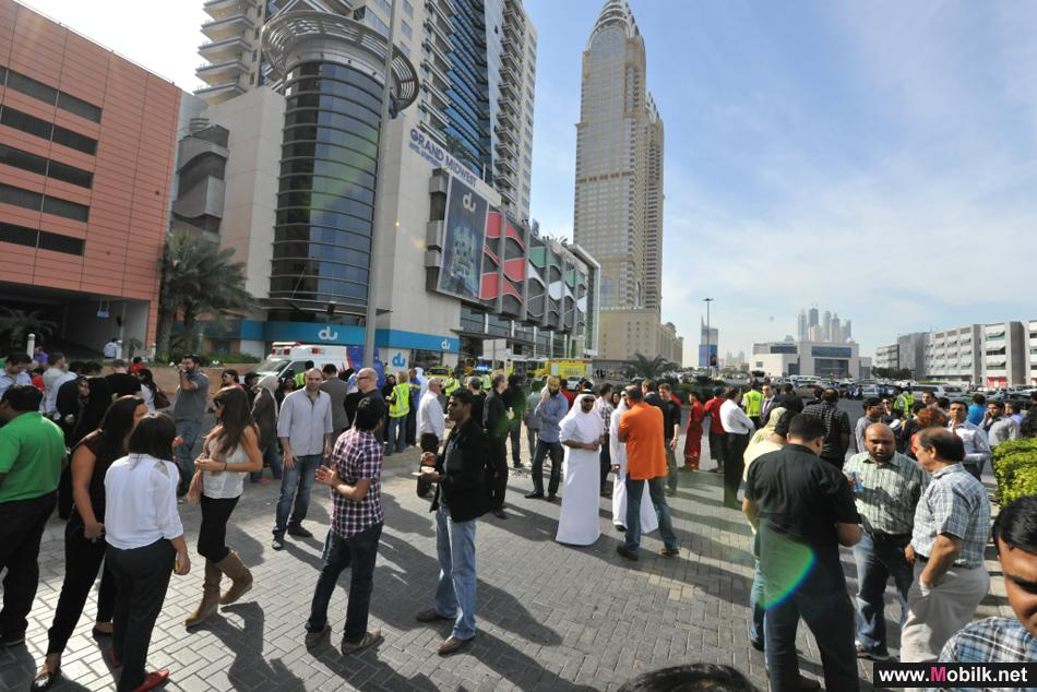 دو تجري عملية إخلاء تجريبية لمقرها في مدينة دبي للإعلام في تدريب على حريق وهمي