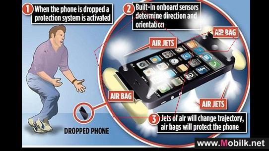 تسجيل براءة اختراع لحماية الهواتف الذكية من الصدمات بوسائد هوائية
