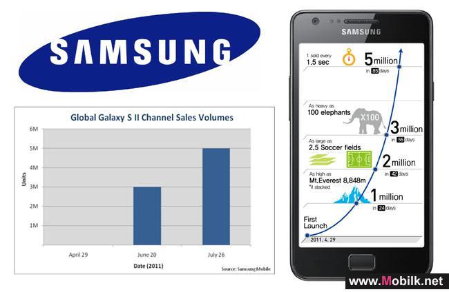 خمسة ملايين جهاز مبيعات سامسونج لهاتف GALAXY S II في جميع أنحاء العالم
