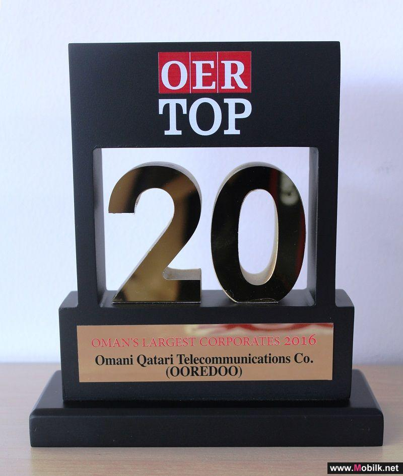 Ooredoo Named One of Oman's Top 20 Companies for 7th Year Running