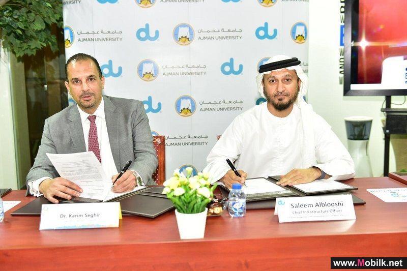 دو وجامعة عجمان توقّعان مذكرة تفاهم لتطوير حالات استخدام جديدة لشبكة الجيل الخامس وإنترنت الأشياء في مختبر الإمارات للابتكار
