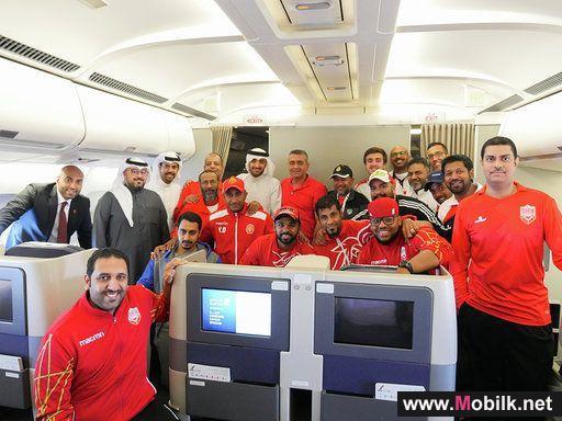 مشجعون المنتخب الوطني الأول على متن الطائرة التي خصصتها شركة بتلكو لنقل جماهير مشجعي المنتخب