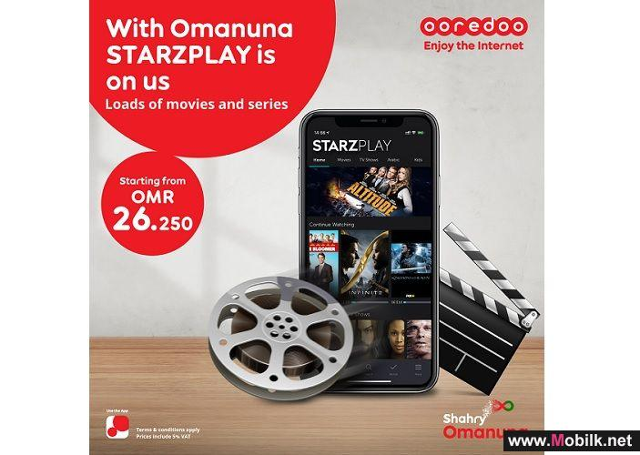 Free STARZPLAY Subscriptions with Ooredoo Shahry Omanuna Plans